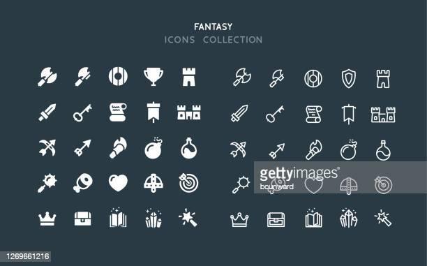 flat & line fantasy rpg icons - castle stock illustrations