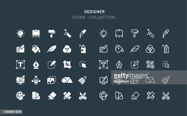 flache & linie grafik designer icons - künstlerischer beruf stock-grafiken, -clipart, -cartoons und -symbole