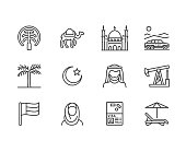 UAE flat line icons. Arab emirates flag, dubai , islam mosque, desert offroad car, muslim people, camel, oil vector illustrations. Thin signs for travel agency. Pixel perfect 64x64. Editable Strokes