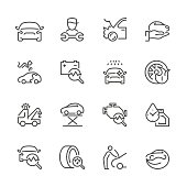 Flat Line icons - Auto Repair Series