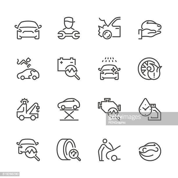 flat line icons - auto repair series - car stock illustrations, clip art, cartoons, & icons