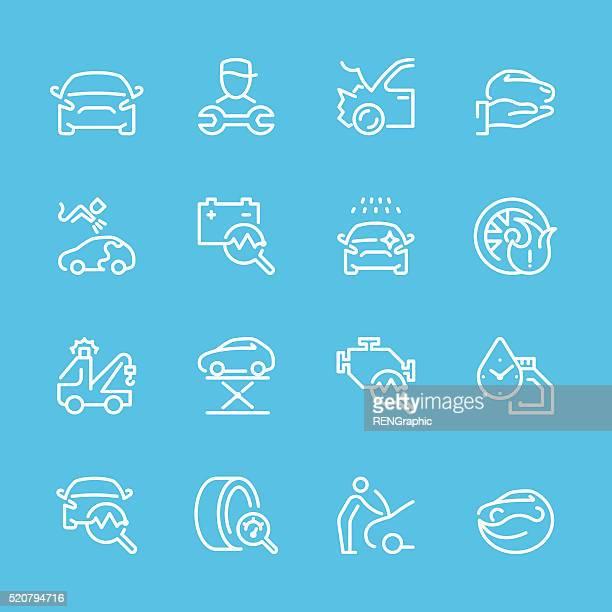 Flat Line icons - Auto Repair Series