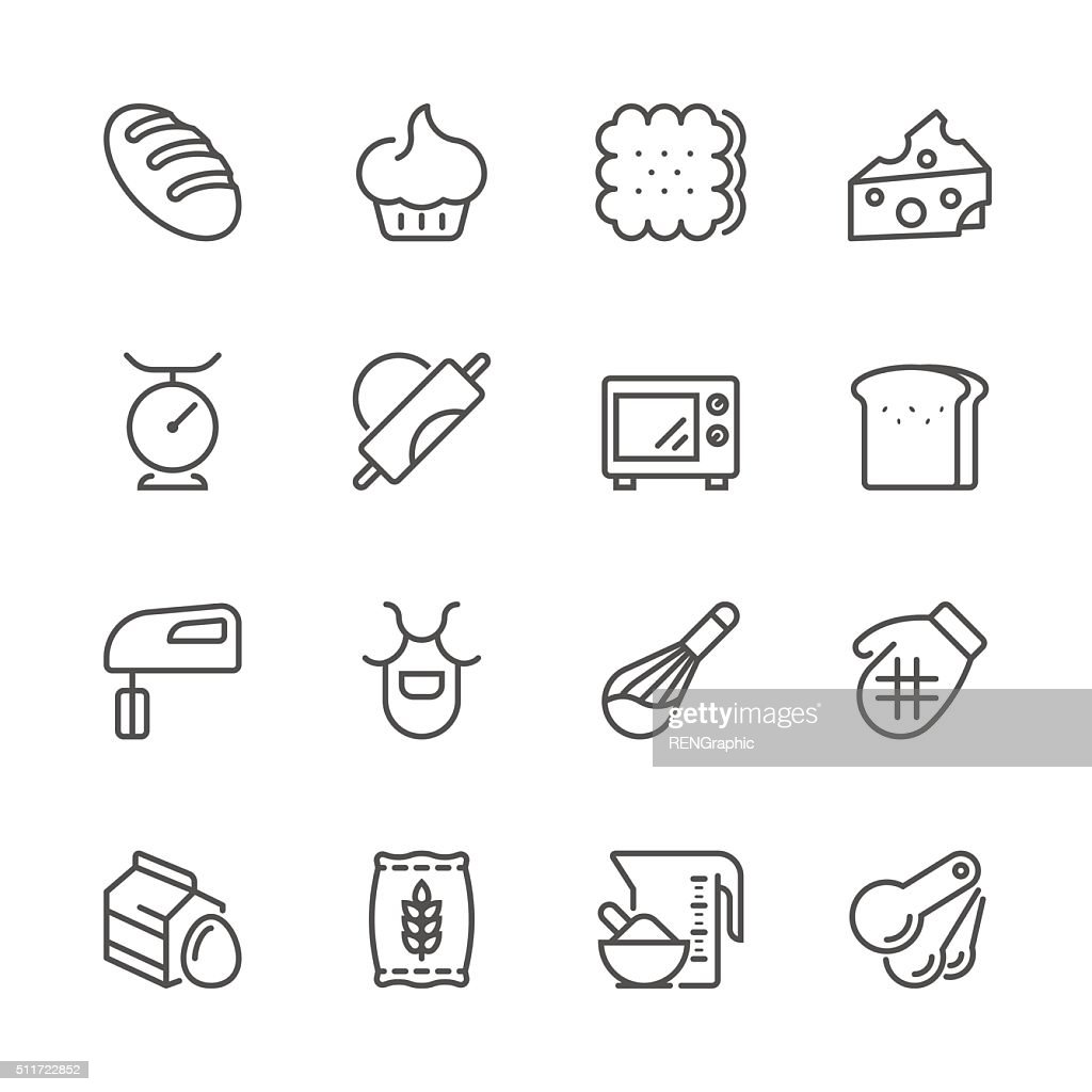 Flat Line icons - Baking Series : stock illustration