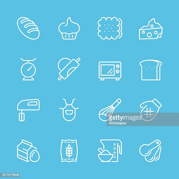 flat line icons - baking series - sweet bun stock illustrations, clip art, cartoons, & icons