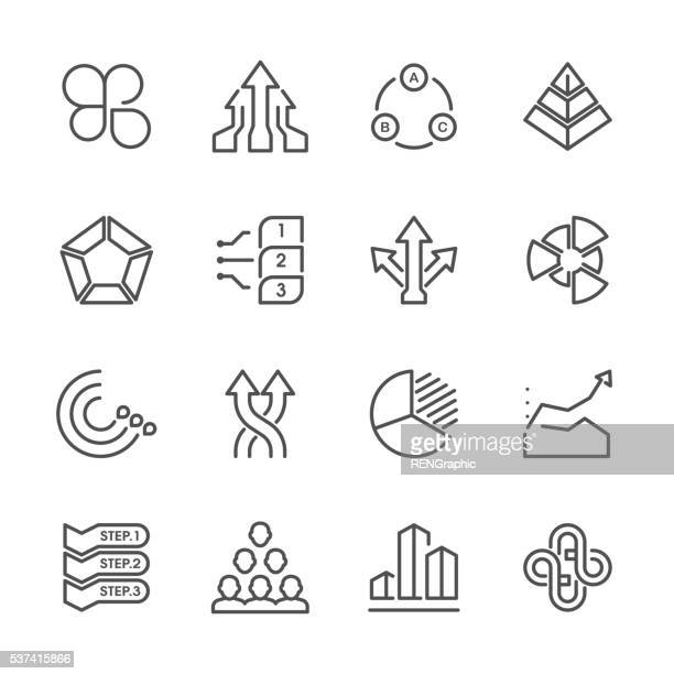 flat line icons - business chart series - savoury pie stock illustrations