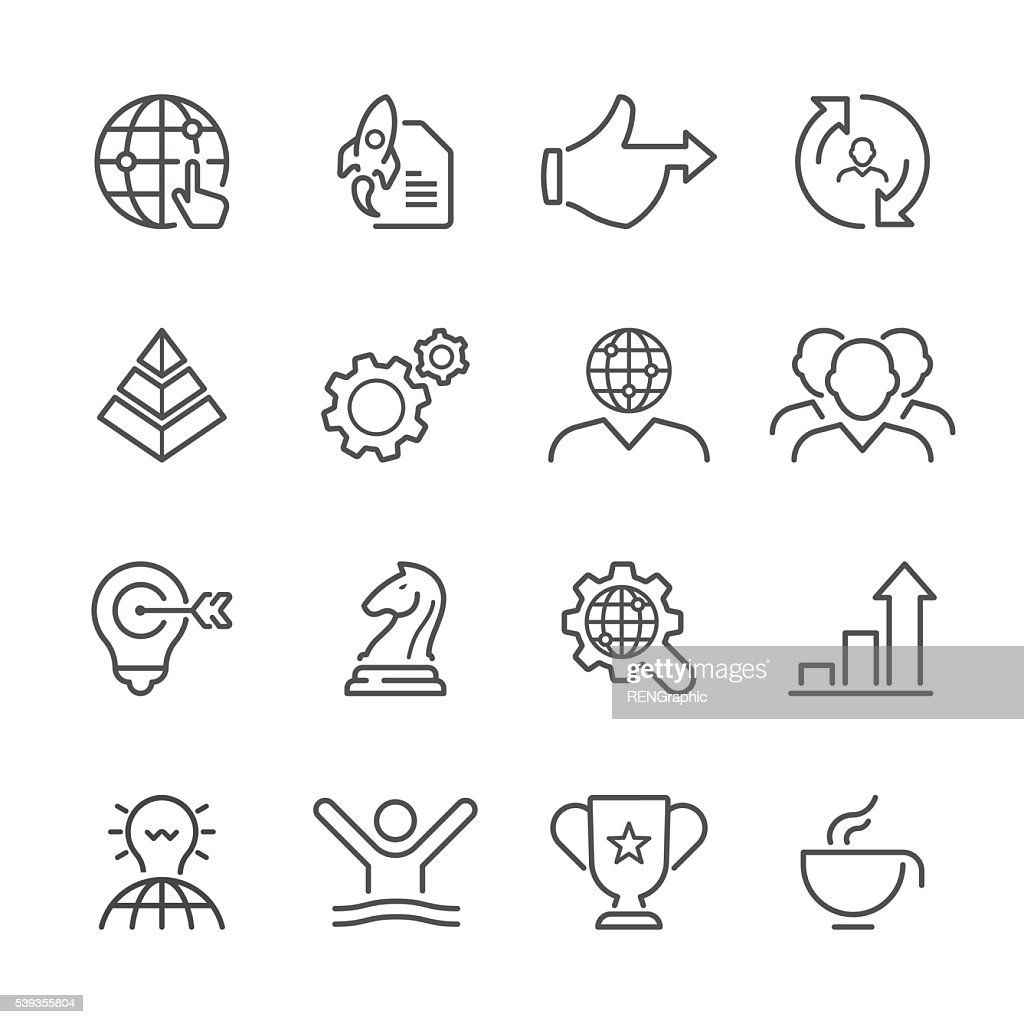 Flache Linie Symbole-Business-Serie : Stock-Illustration
