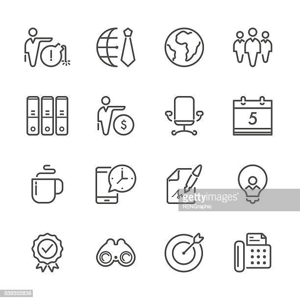 flat line icons - business  series - thin stock illustrations