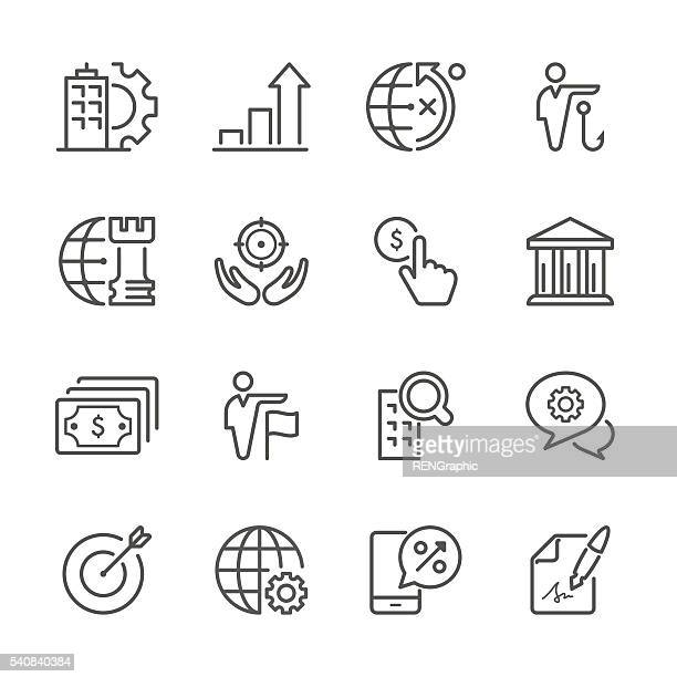 flat line icons - business  series - head above water stock illustrations