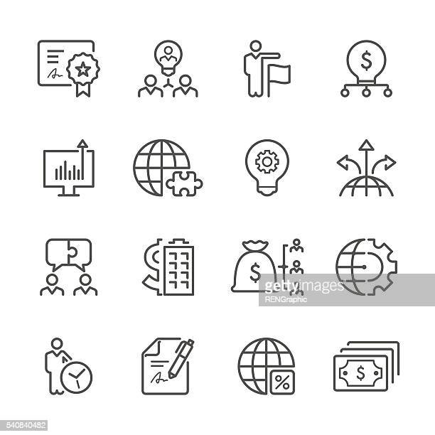 flat line icons - business  series - money manager stock illustrations, clip art, cartoons, & icons
