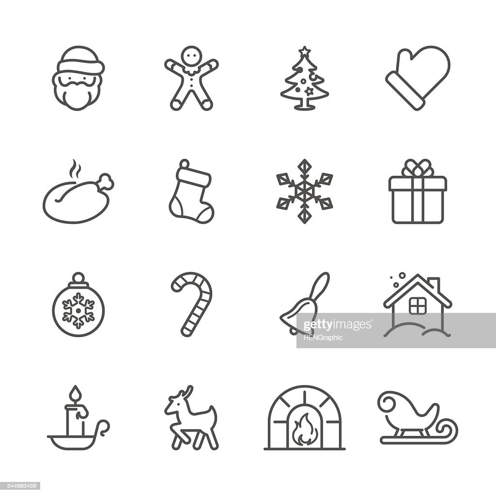 Flat Line icons - Christmas Series