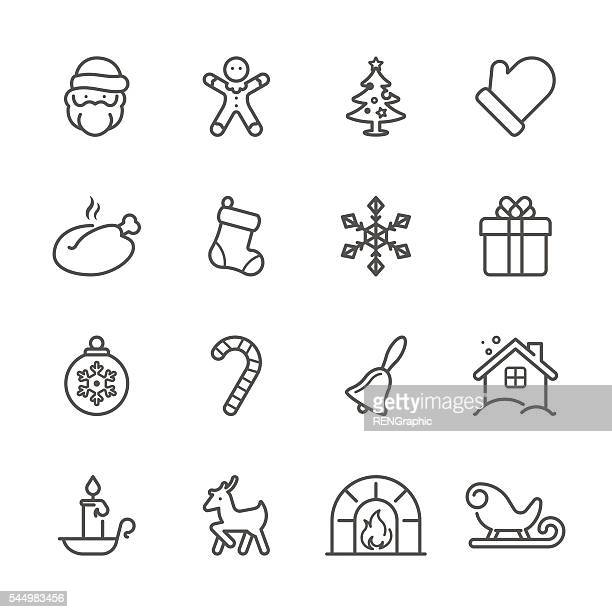 flat line icons - christmas series - christmas travel stock illustrations, clip art, cartoons, & icons