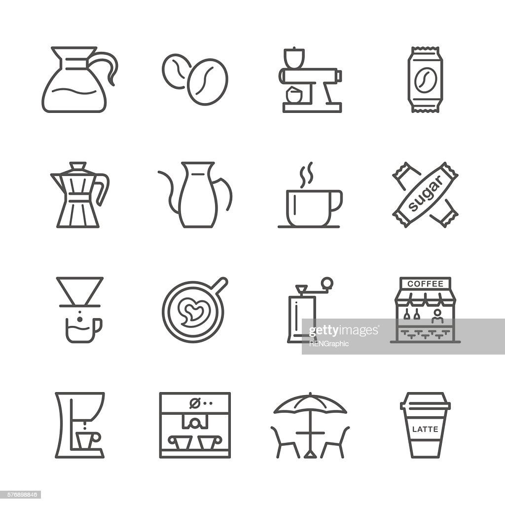 Flat Line icons - Coffee  Series : stock illustration