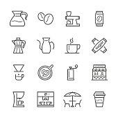 Flat Line icons - Coffee  Series