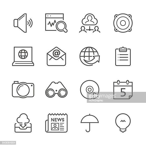 Flat Line icons - Communication and Internet Series