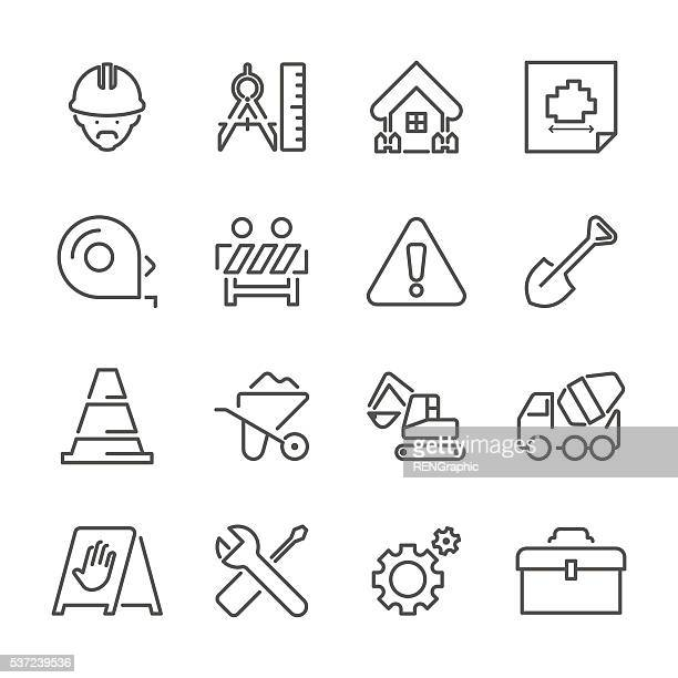 flat line icons - construction site series - carpenter stock illustrations