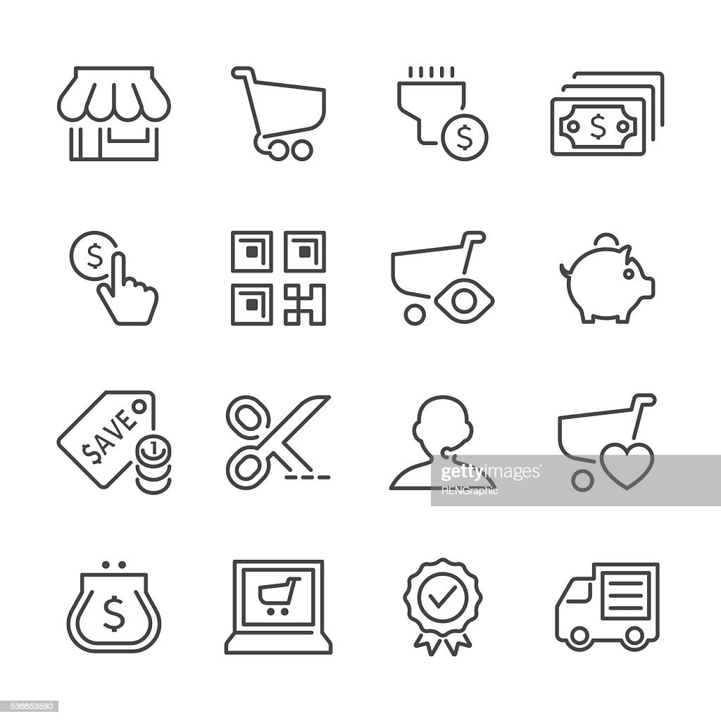 Flat Line icons - E-Commerce Series