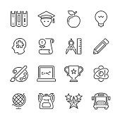 Flat Line icons - Education Series