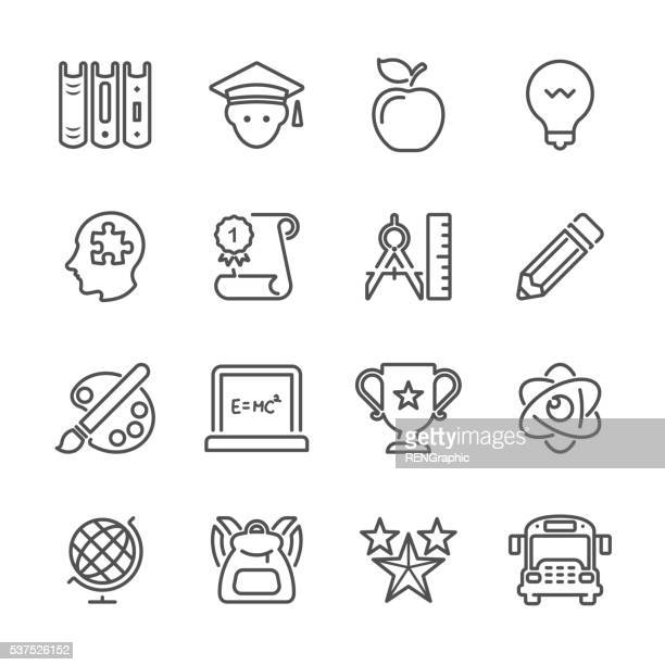 Piatto linea icone di istruzione-serie