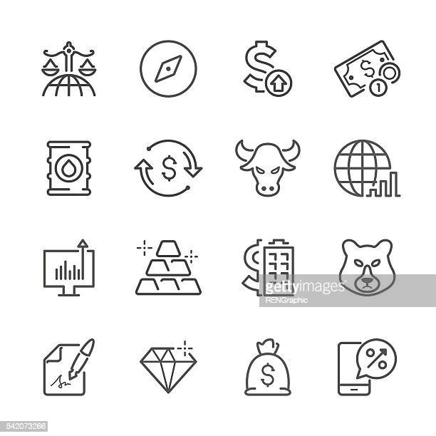 ilustraciones, imágenes clip art, dibujos animados e iconos de stock de línea plana icons-finanzas & serie de inversión - firma