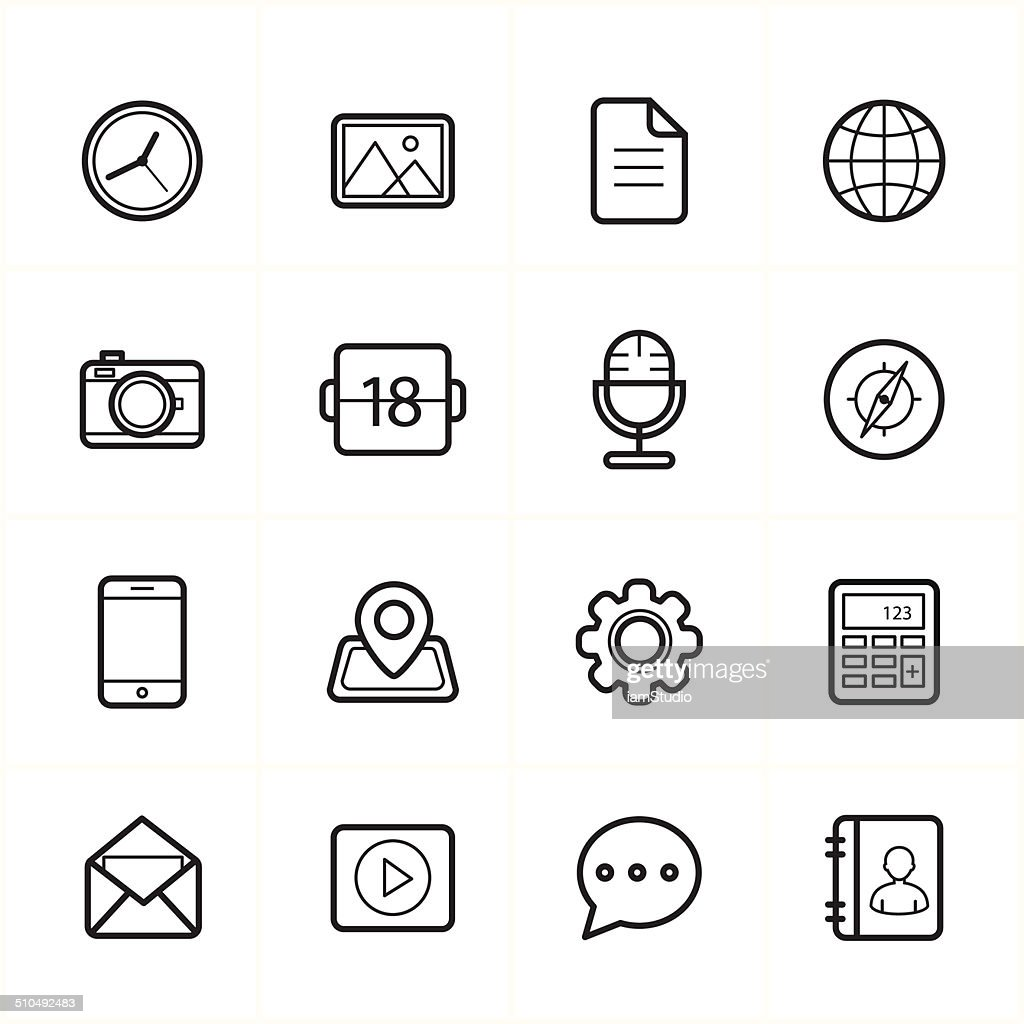 Flat Line Icons For Media Icons and Communication Icons Vector Illustration