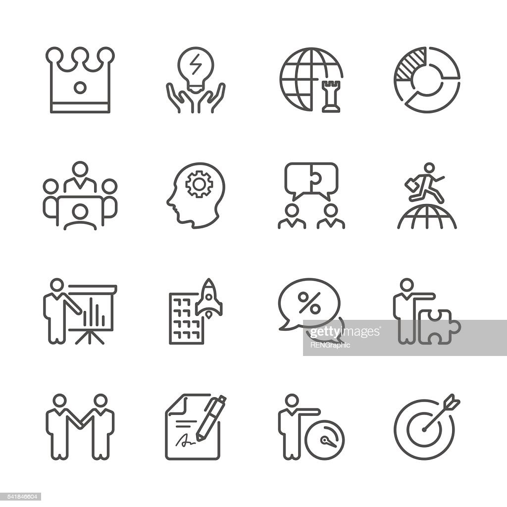 Flat Line icons - Global Business and Strategy  Series
