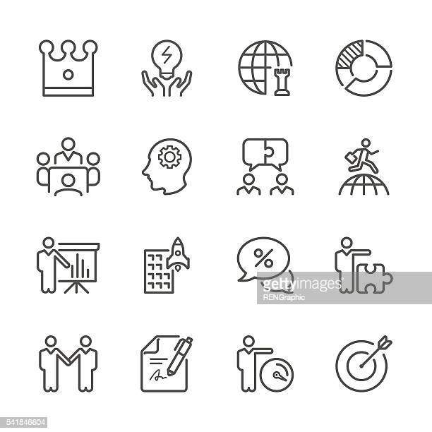 flat line icons - global business and strategy  series - head above water stock illustrations