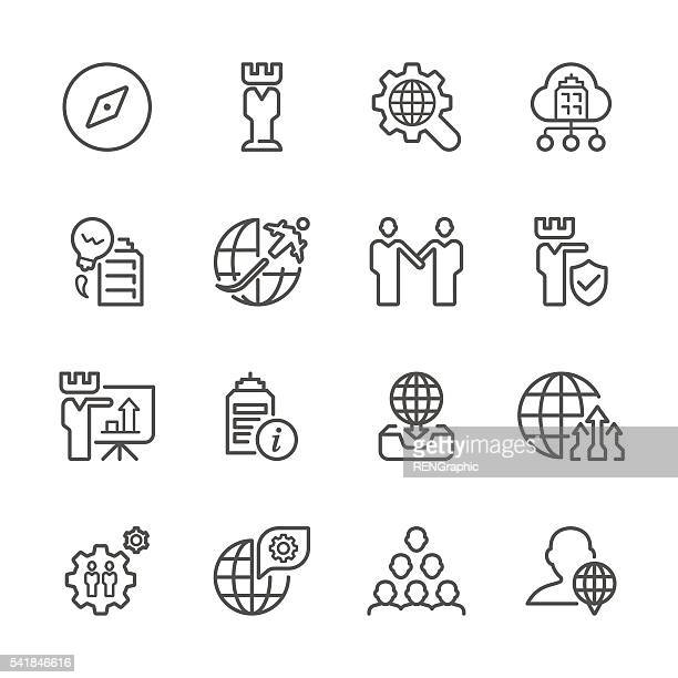 flat line icons - global business  series - slim stock illustrations, clip art, cartoons, & icons