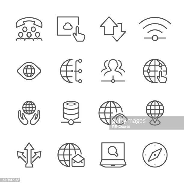 Flat Line icons - Global communication Series