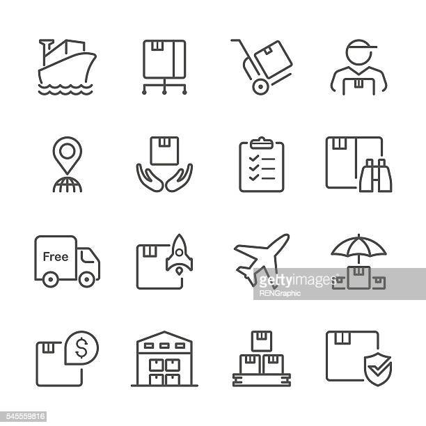 flat line icons - logistic series - storage room stock illustrations, clip art, cartoons, & icons