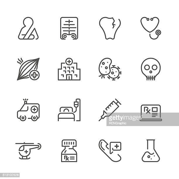 Flat Line icons - Medical Series