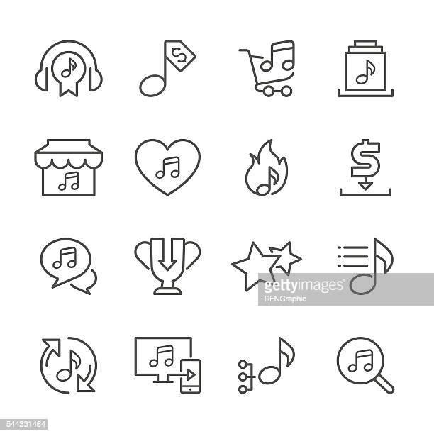 flache linie icons-music shop series - schriftnachricht stock-grafiken, -clipart, -cartoons und -symbole