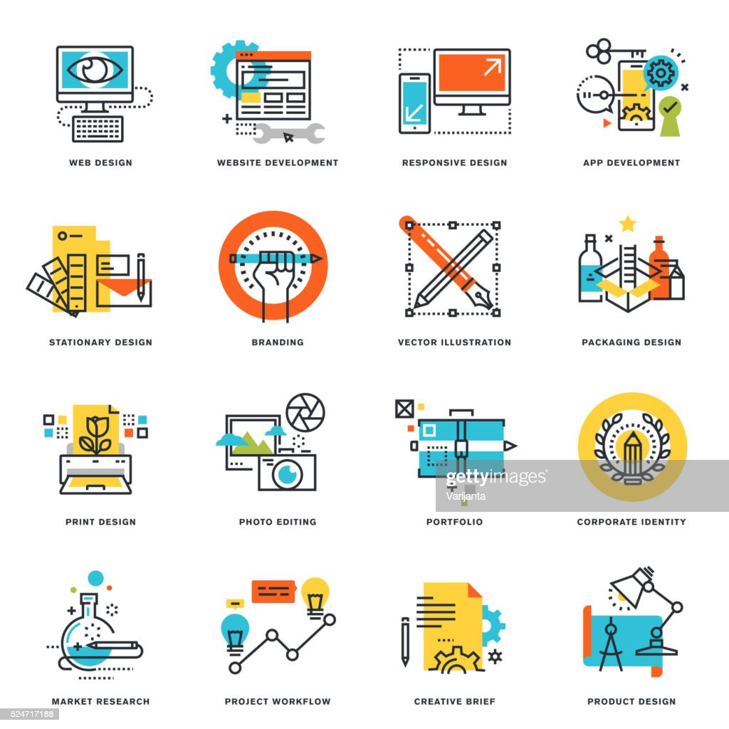 Flat line icons of graphic and web design and development