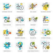 Flat line icons of nature, ecology, green technology and recycling