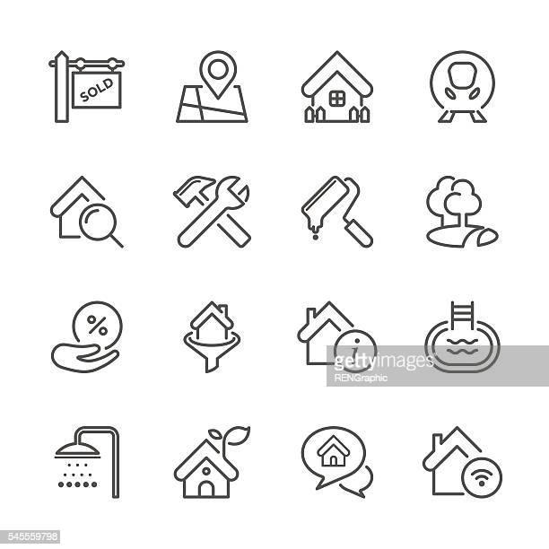 flat line icons - real estate series - housing development stock illustrations