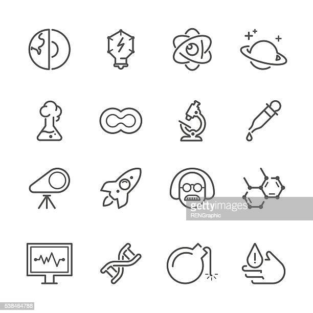 flat line icons - science & chemistry series - pipette stock illustrations, clip art, cartoons, & icons