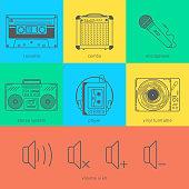 Flat line icons set of audio technic 90's like