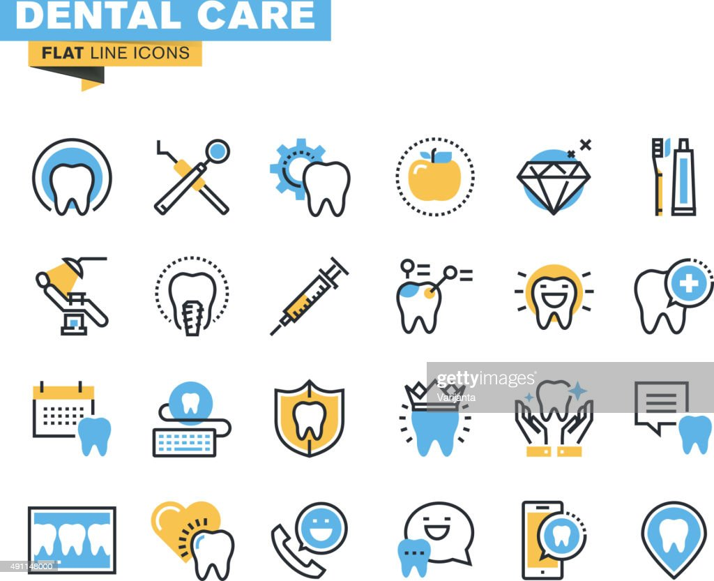 Flat line icons set of dental care theme