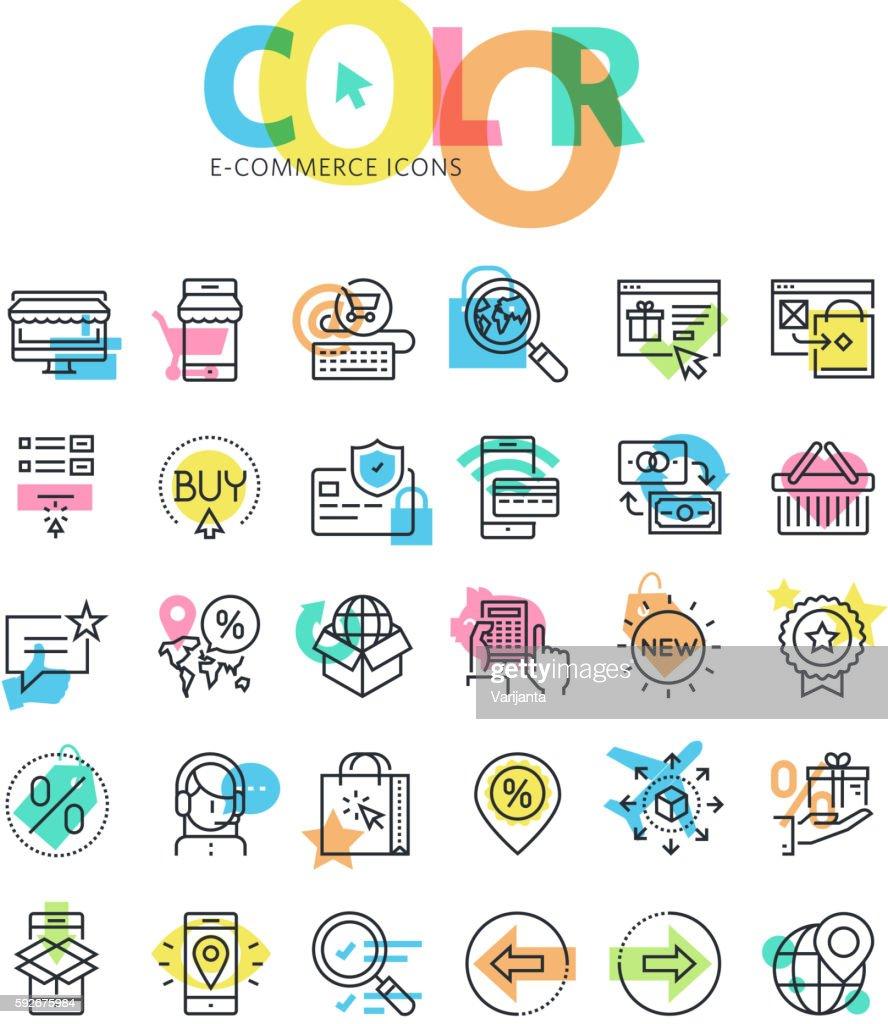 Flat line icons set of e-commerce, online sale