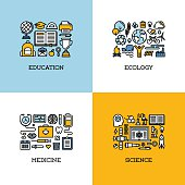 Flat line icons set of education, ecology, medicine, science