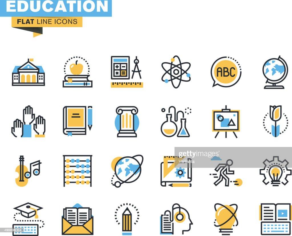 Flat line icons set of education
