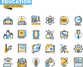 Flat line icons set of education