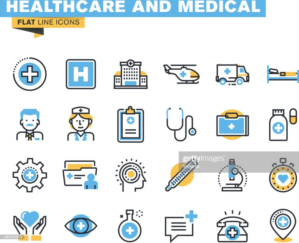 Flat line icons set of health care and medicine theme