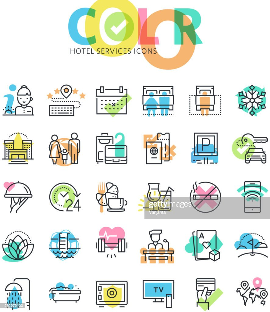 Flat line icons set of hotel services and facilities