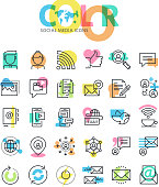 Flat line icons set of social media, networking, internet communication