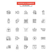 Flat Line Icons- Shopping and commerce