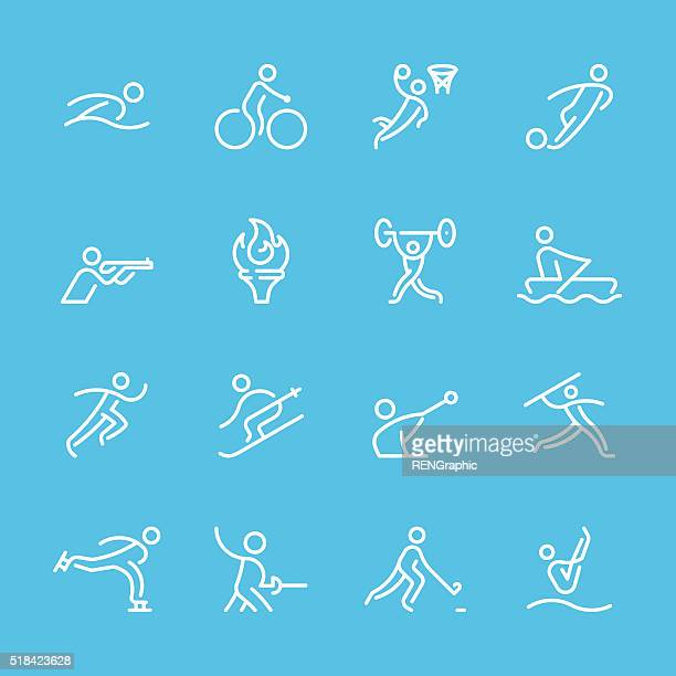 flat line icons - sport & fitness series - discus stock illustrations, clip art, cartoons, & icons