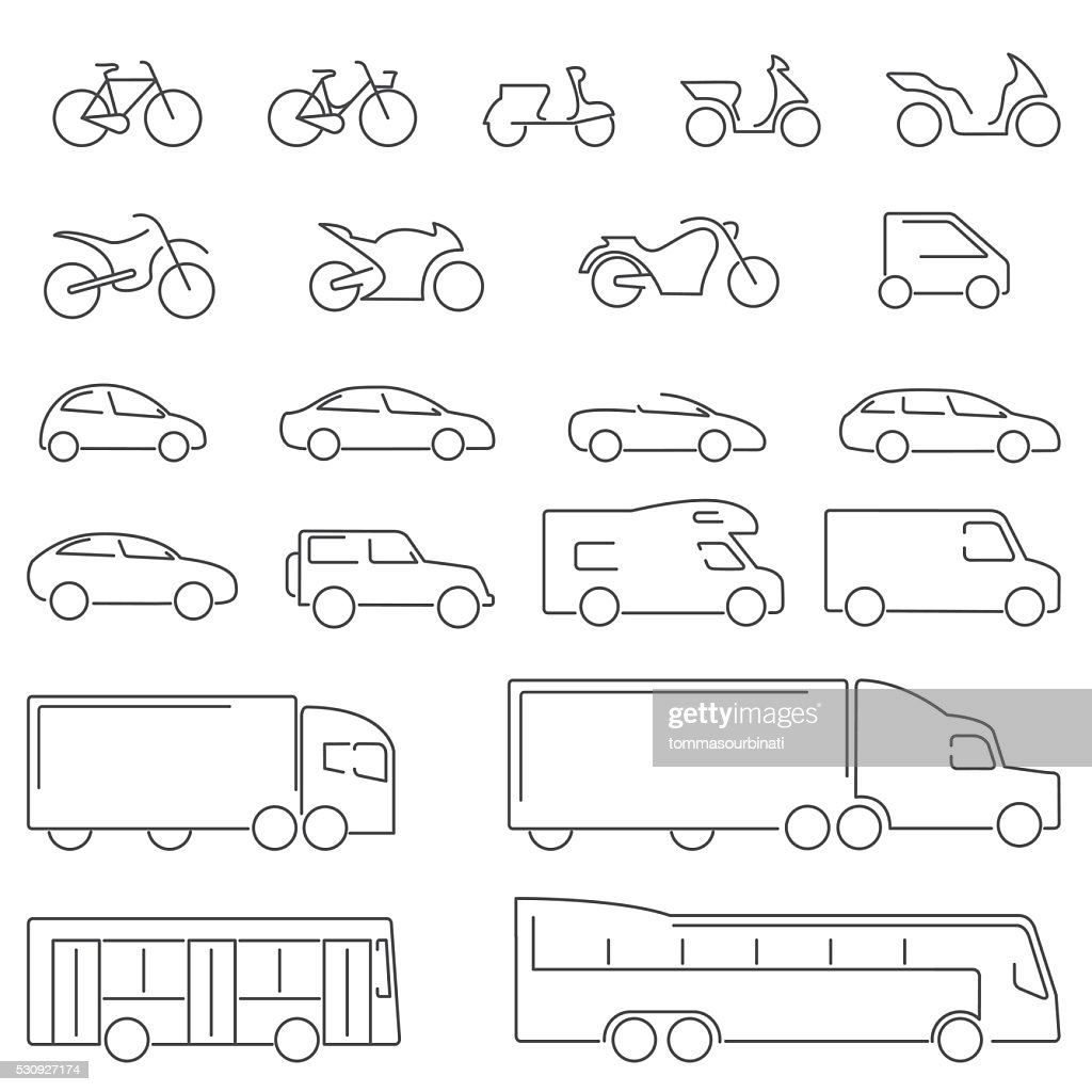 Flat Line icons - Transportation Vehicles Icons - Illustration