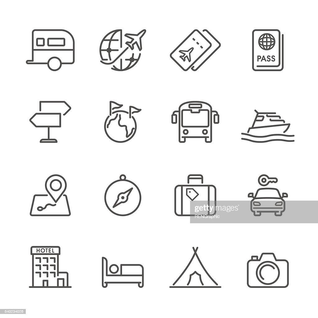 Flache Linie icons-Reise-Serie : Stock-Illustration