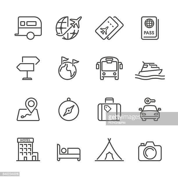 flat line icons - travel series - business travel stock illustrations, clip art, cartoons, & icons