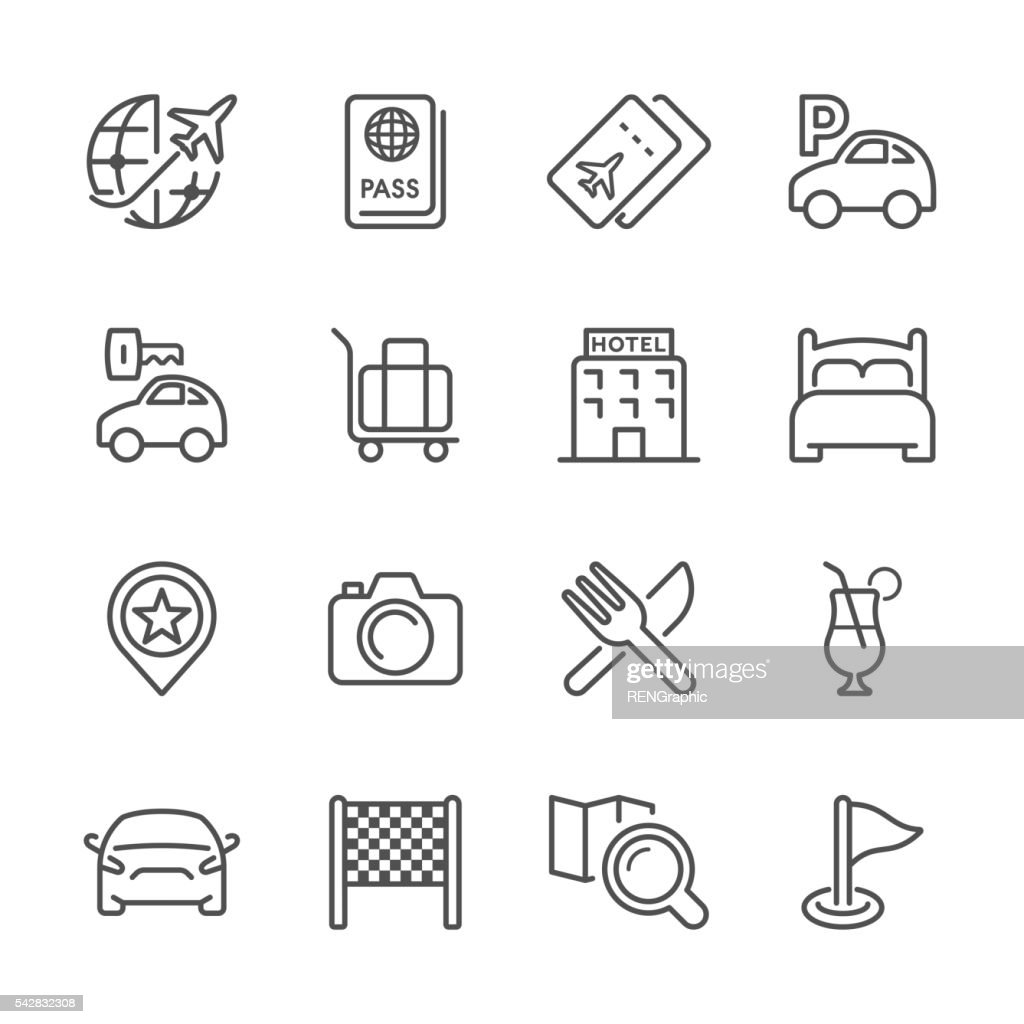 Flat Line icons - Travel Series : Stock Illustration